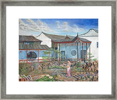 In A Chinese Garden Framed Print by Anthony Lyon