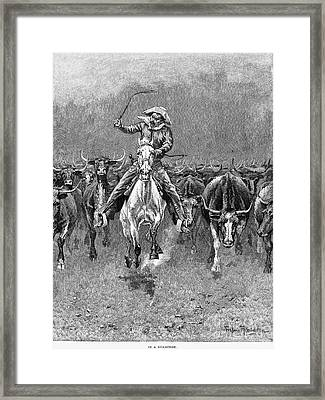 In A Stampede Framed Print by Granger