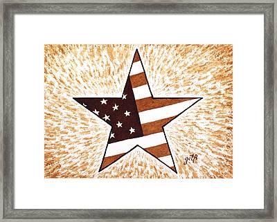 Independence Day Star Usa Flag Coffee Painting Framed Print by Georgeta  Blanaru