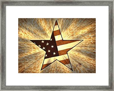 Independence Day Stary American Flag Framed Print by Georgeta  Blanaru