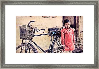Indian Boy With Cycle Framed Print by Parikshat sharma