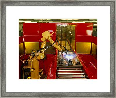 Industrial Robot Welding On Production Line Framed Print by David Parker600-group