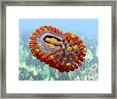 Influenza Structure On Blue Framed Print by Russell Kightley