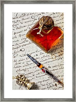 Ink Bottle And Pen  Framed Print by Garry Gay