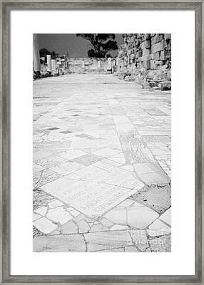 Inscription In The Floor Tile Of The Gymnasium Stoa Ancient Site Salamis Famagusta Framed Print by Joe Fox