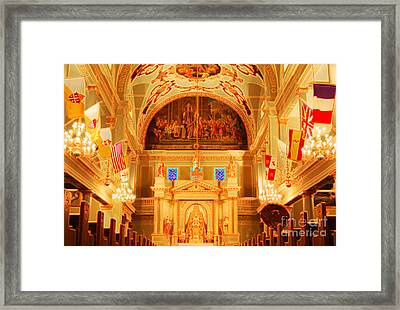 Inside St Louis Cathedral Jackson Square French Quarter New Orleans Accented Edges Digital Art Framed Print by Shawn O'Brien