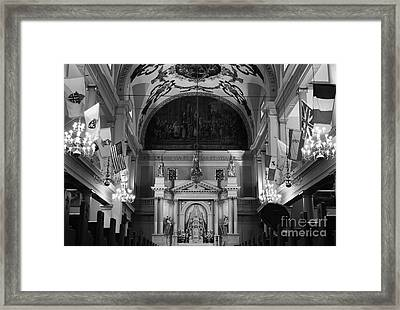 Inside St Louis Cathedral Jackson Square French Quarter New Orleans Black And White Framed Print by Shawn O'Brien