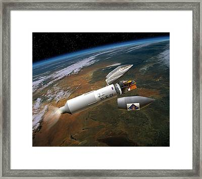 Integral Satellite Launch, Artwork Framed Print by David Ducros