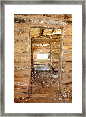 Interior Of A Pioneer Cabin Framed Print by Bryan Mullennix