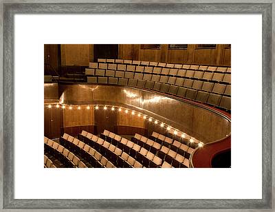 Interior Of An Illuminated Art Deco Theater Framed Print by Adam Burn