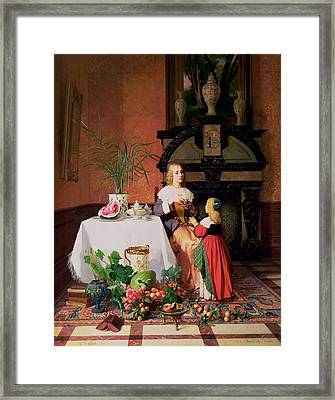 Interior With Figures And Fruit Framed Print by David Emil Joseph de Noter