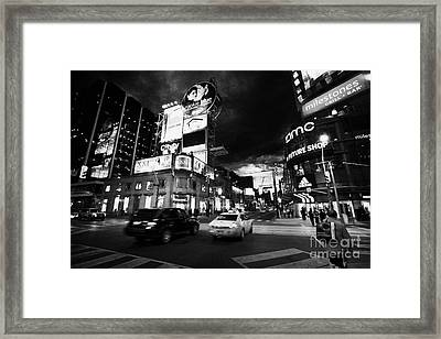 Intersection Of Yonge And Dundas At Night Yonge-dundas Square Toronto Ontario Canada Framed Print by Joe Fox