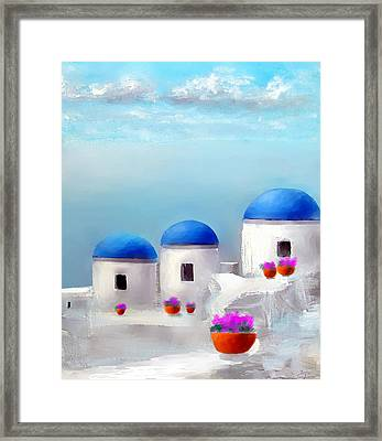 Into The Heavens Santorini Framed Print by Larry Cirigliano