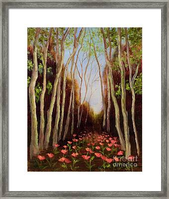 Into The Woods-poppies Framed Print by Vic  Mastis