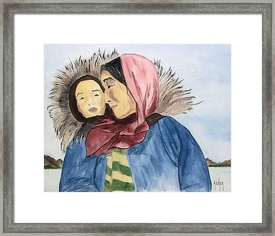 Inupiaq Eskimo Mother And Child Framed Print by Alethea McKee