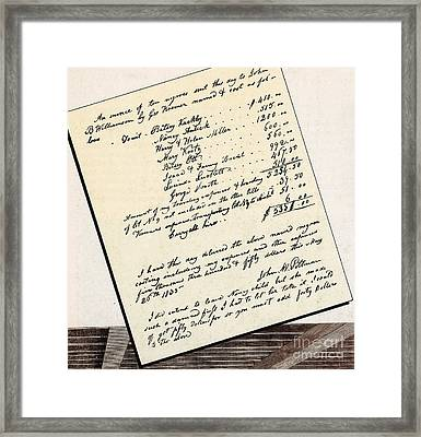 Invoice Of A Sale Of Black Slaves Framed Print by Photo Researchers