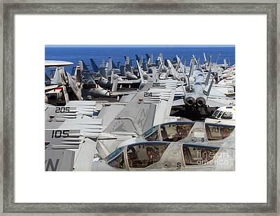 Ircraft Are Stacked On The Bow Of Uss Framed Print by Stocktrek Images