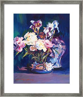 Iris Peonies And Chinese Vase Framed Print by David Lloyd Glover