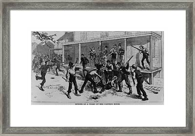 Irish Laborers Killing An African Framed Print by Everett