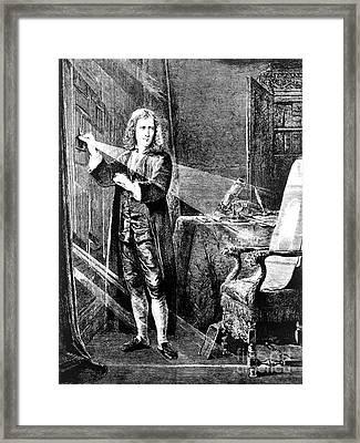 Isaac Newton, Ray Of Light Framed Print by Omikron