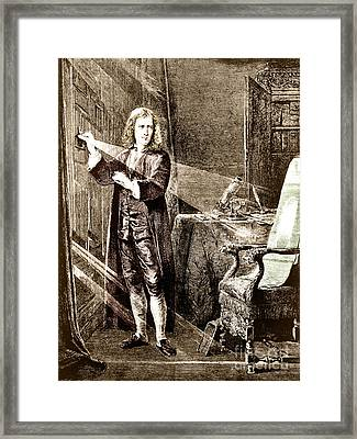 Isaac Newton Ray Of Light Framed Print by Science Source