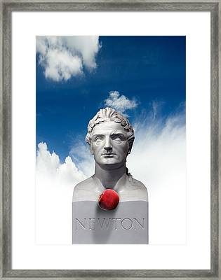 Issac Newton And The Apple, Artwork Framed Print by Victor Habbick Visions