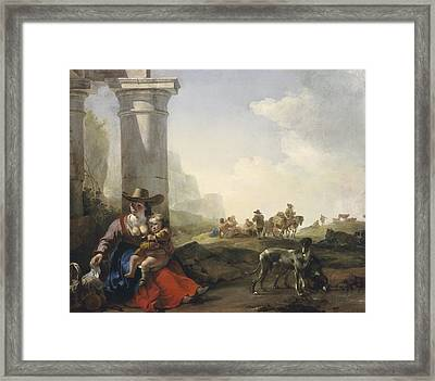 Italian Peasants Among Ruins Framed Print by Jan Weenix
