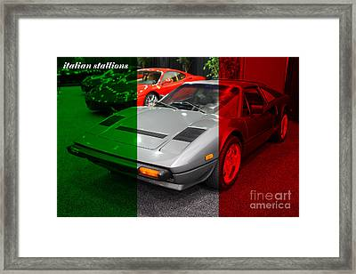Italian Stallions . 1984 Ferrari 308 Gts Qv Framed Print by Wingsdomain Art and Photography