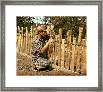 Jack Whinery Repairing Fence Framed Print by Padre Art