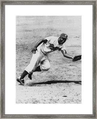 Jackie Robinson, Fielding Third Base Framed Print by Everett