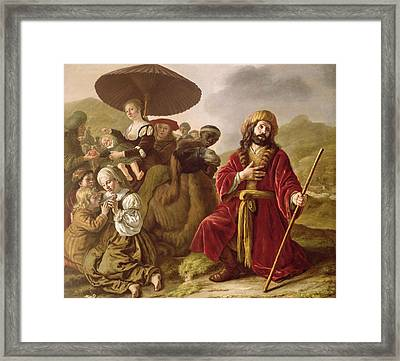 Jacob Seeking Forgiveness Of Esau Framed Print by Jan Victoors
