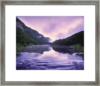 Jacques-cartier River And Mist At Dawn Framed Print by Yves Marcoux