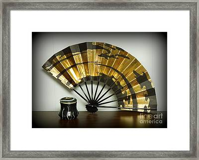 Japanese Fan And Pot Framed Print by Renee Trenholm