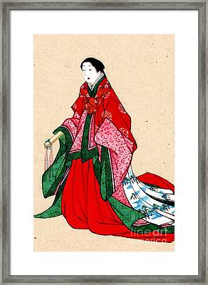 Japanese Noblewoman With Artificial Eyebrows 1878 Framed Print by Padre Art