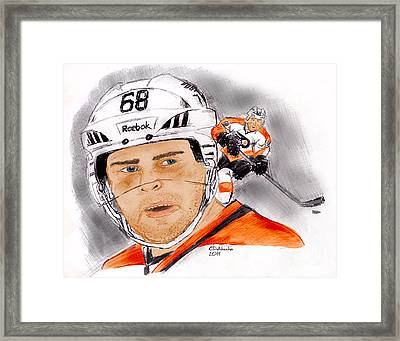 Jaromir Jagr- Color Framed Print by Chris  DelVecchio