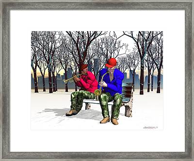 Jazzmas In The Park 1 Framed Print by Walter Oliver Neal