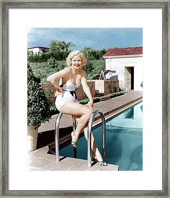 Jean Harlow Poses In Front Of Her Home Framed Print by Everett