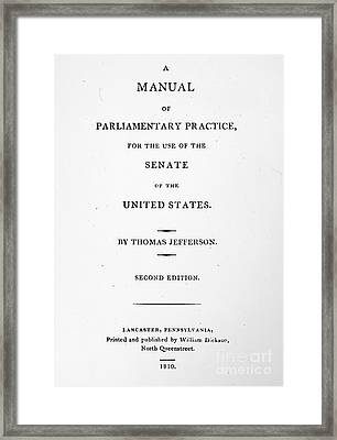 Jefferson: Title Page, 1810 Framed Print by Granger