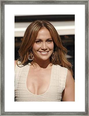 Jennifer Lopez At The Press Conference Framed Print by Everett