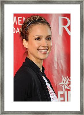 Jessica Alba At A Public Appearance Framed Print by Everett