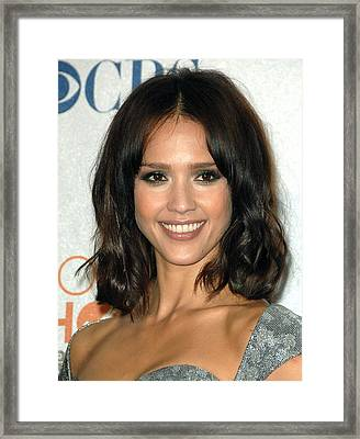 Jessica Alba In The Press Room Framed Print by Everett