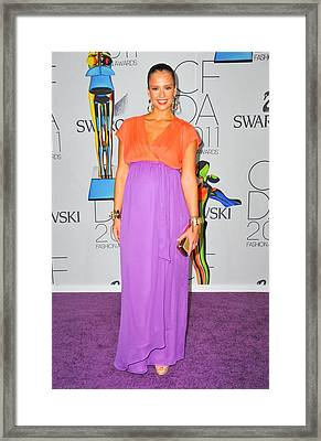 Jessica Alba Wearing A Custom Diane Von Framed Print by Everett