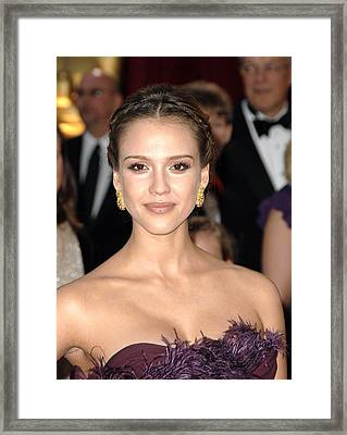 Jessica Alba Wearing Cartier Earrings Framed Print by Everett