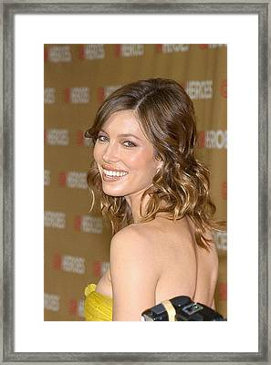 Jessica Biel At Arrivals For All-star Framed Print by Everett