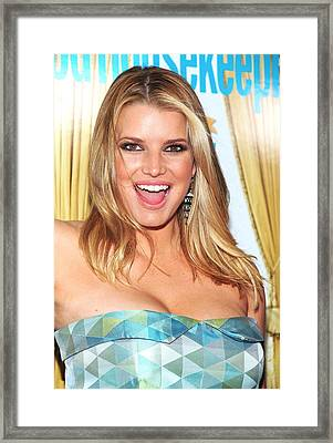 Jessica Simpson At Arrivals For Good Framed Print by Everett