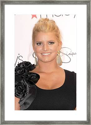 Jessica Simpson At In-store Appearance Framed Print by Everett