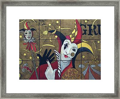 Jester In Red Framed Print by Susanne Clark