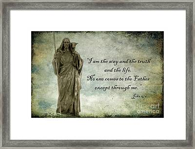 Jesus - Christian Art - Religious Statue Of Jesus - Bible Quote Framed Print by Kathy Fornal