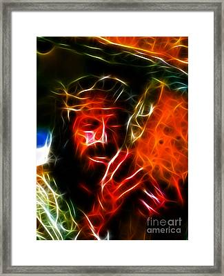 Jesus Carrying The Cross No2 Framed Print by Pamela Johnson