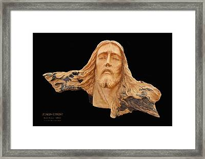 Jesus Christ Wooden Sculpture -  Four Framed Print by Carl Deaville